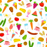 seamless pattern with various foods