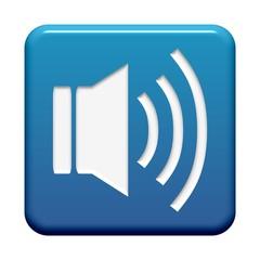 Blauer Button: Lautsprecher-Symbol