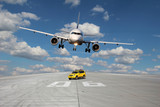 Treshold of runway with car and plane - 62164366
