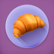 Croissant long shadow vector icon