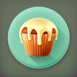 Cupcake long shadow vector icon