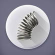 Elastic metal spring long shadow vector icon