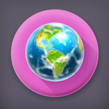 Earth long shadow vector icon