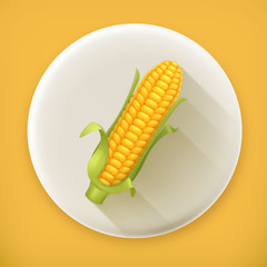 Corn long shadow vector icon