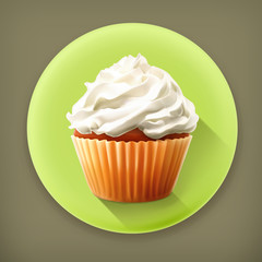 Cupcake, long shadow vector icon