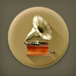 Gramophone long shadow vector icon