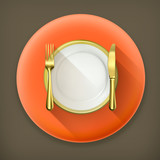 Gold dinner place setting long shadow vector icon