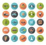 Fototapety Set of modern flat icons. Travel.