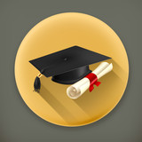 Graduation cap and diploma long shadow vector icon