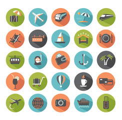 Set of modern flat travel icons.