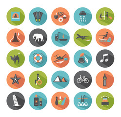 Set of travel icons. Modern flat design elements.
