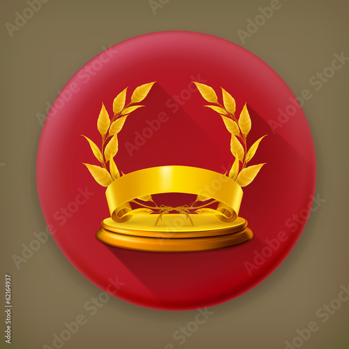Golden wreath long shadow vector icon
