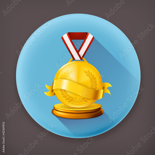Gold Medal long shadow vector icon