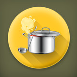 Hot soup long shadow vector icon