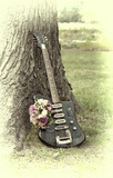 Electric guitar with a bunch of flowers near a tree