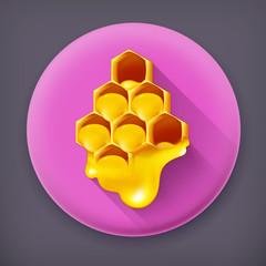 Honeycomb long shadow vector icon