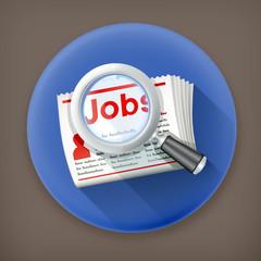 Job Search, long shadow vector icon