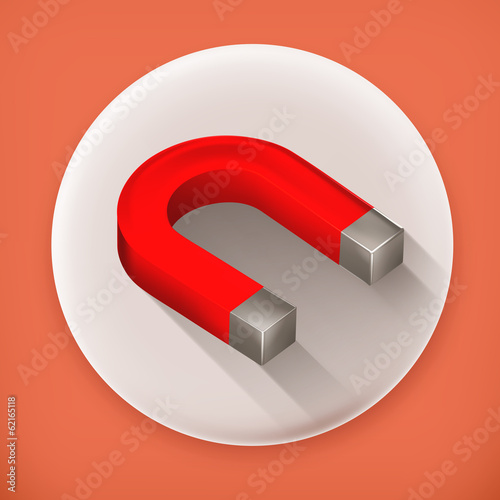 Horseshoe magnet long shadow vector icon