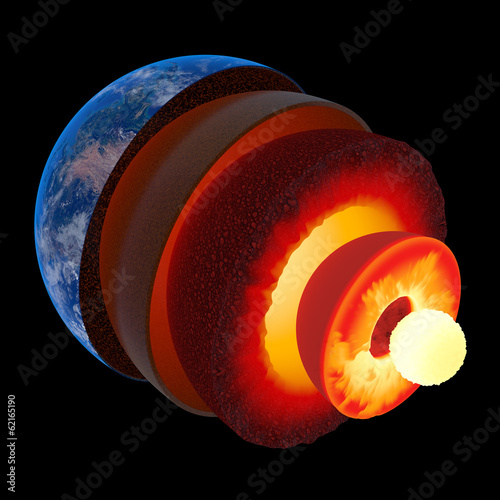 Earth core structure to scale - isolated