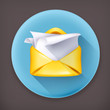 Letter, long shadow vector icon