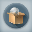 Light bulb in box long shadow vector icon