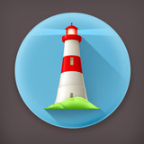 Lighthouse long shadow vector icon