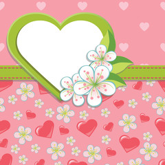 Wedding Design template.Cherry flowers and hearts background