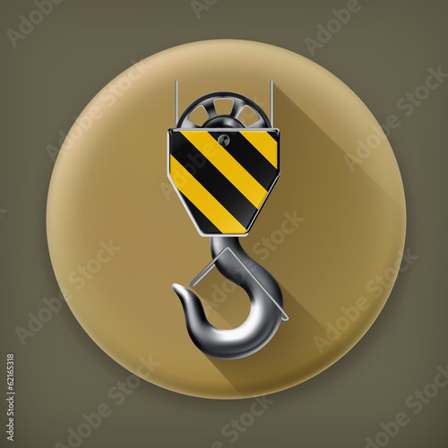 Lifting hook long shadow vector icon