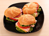 sandwiches on black dish fast food