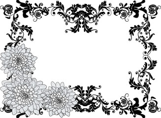 black frame with three large chrysanthemum flowers