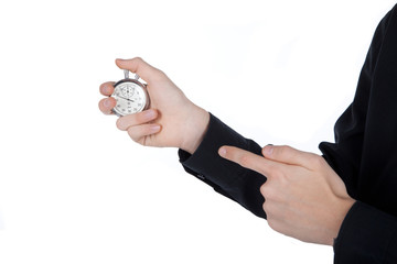 man's hand with a stopwatch on white background