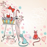 Vintage card vector with cats in bright colors