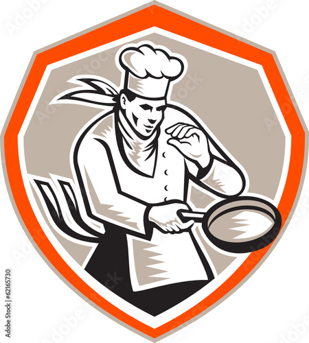 Chef Cook Holding Frying Pan Retro