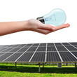 Solar energy panels and bulb in hand