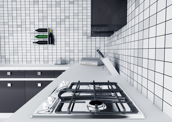 Kitchen worktop with gas stove