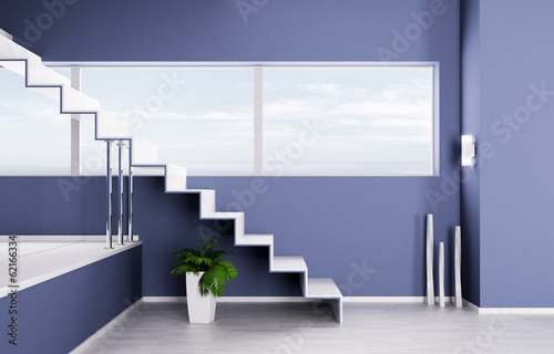 Interior of a room with staircase