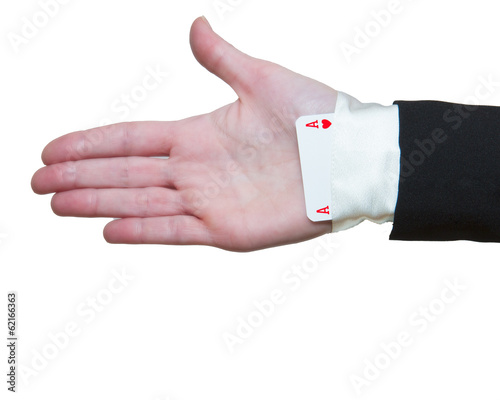 Woman hand with ace up the sleeve