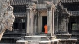 cambodian monks in angkor wat temple