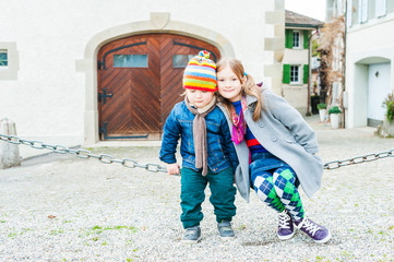 Outdoor portrait of adorable children