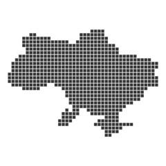 Pixelkarte schwarz - Ukraine