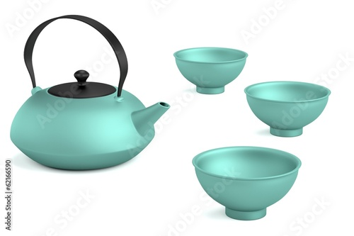 realistic 3d render of tea set
