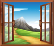 An open window across the mountain