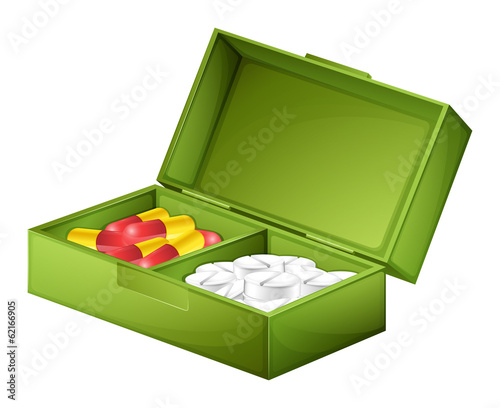 A medicine box with tablets and capsules