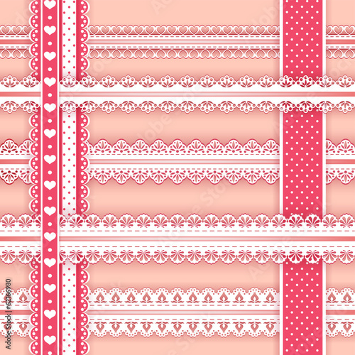 Collection design elements for scrapbook. Borders.