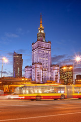 Palace of Culture and Science in Warsaw at Dusk