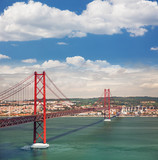 25th of April Suspension Bridge in Lisbon, Portugal, Eutopean tr