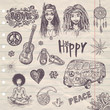 hand drawn hippy set