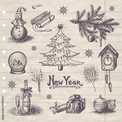 hand drawn New Year set