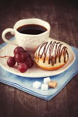 Sweet doughnut and coffee