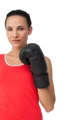 Portrait of a determined female boxer focused on training